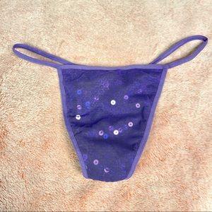 Sequin Purple Mesh Thong